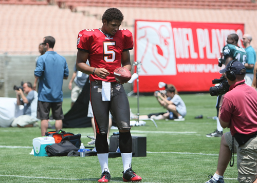 Josh Freeman in full Buccaneers uniform