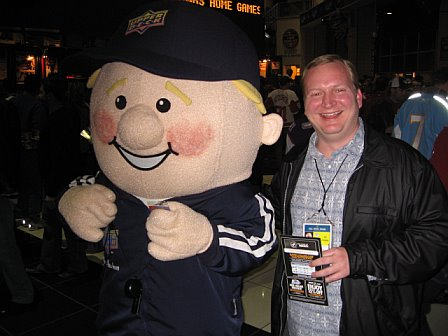 Chris with Upper Deck mascot, Coach Cardman!