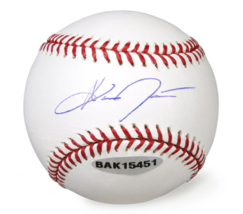 A baseball autographed by Austin Jackson, the Yankees top position player prospect. Future Yankee great, or will he play in Toronto?