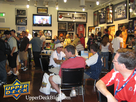 Upper Deck Diamond Club members take in all the amazing items available at the Upper Deck Retail Store in Huntington Beach, CA.