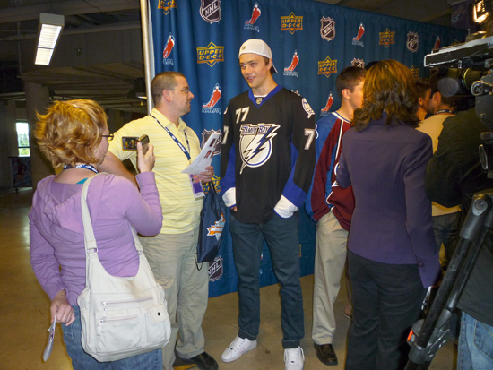 Victor Hedman of the Tampa Bay Lightning greets the press.