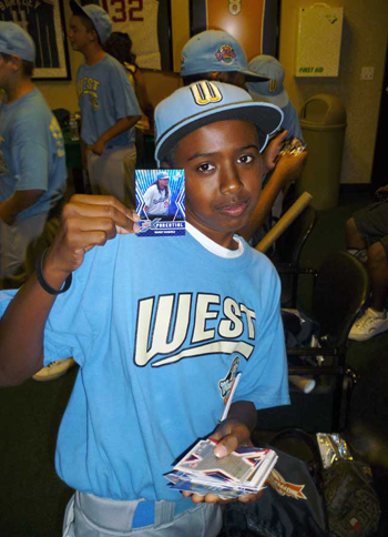 Man-Fan: Park View center fielder Markus Melin shows he's a fan of Manny Ramirez's with his newfound UDx baseball card.