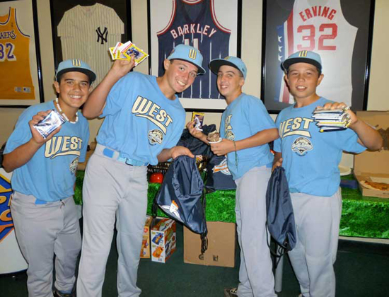 Nice Haul: Park View players Bulla Graft, Kiko Garcia, Seth Godfrey and Nick Conlin make off with some cool Upper Deck stash.