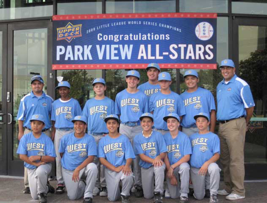 The Gang's All Here: The entire 12-player Park View All-Stars Little League lineup, plus manager Oscar Castro, left, and coach Ric Ramirez, pose in front of Upper Deck headquarters following their individual trading card shoots.