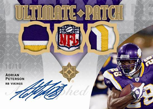 A 2009 Upper Deck NFL Ultimate Patch card of Adrian Peterson