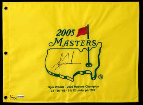 Tiger's Signed 2005 Masters Pin Flag.