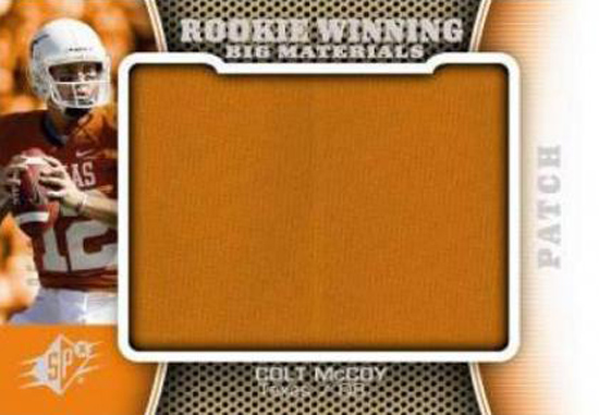 Upper Deck's 2010 Colt McCoy SPx Wining Materials Card