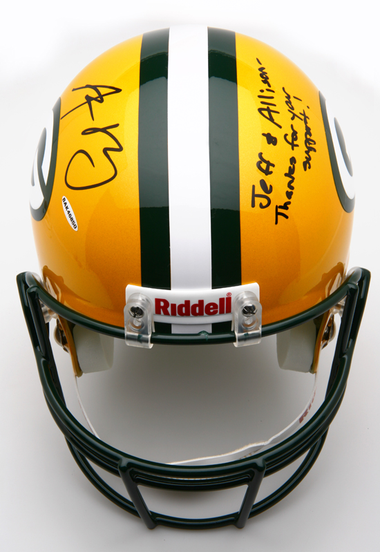 Green Bay Packers First Prize Aaron Rodgers Signed Helmet