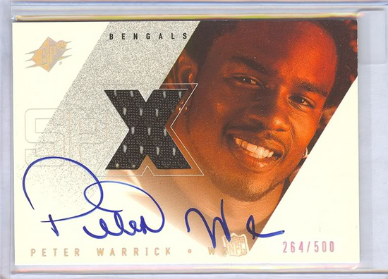 Peter Warrick Signed SPx Jersey Card