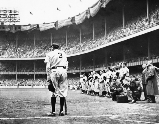 Babe Ruth Leans on Bob Feller's Big Bat