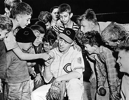 Bob Feller with Young Fans