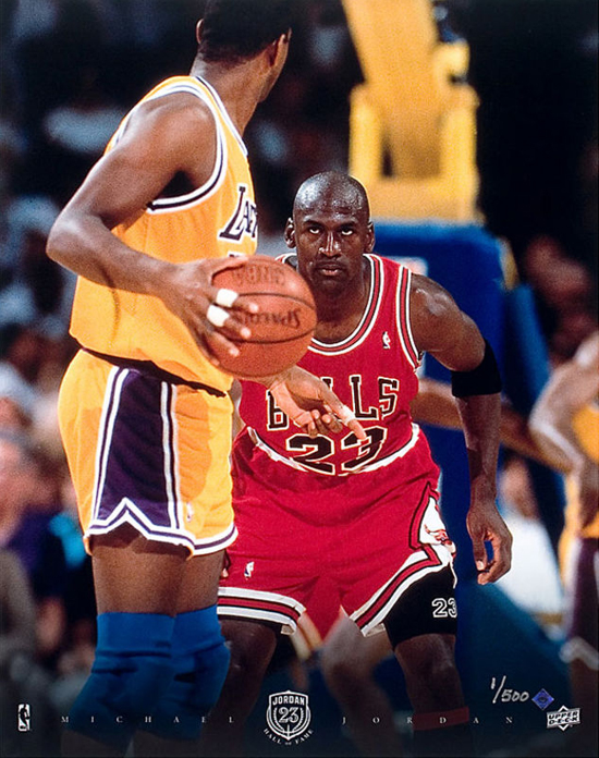 Michael Jordan versus Magic Johnson 1991 NBA Finals Photo