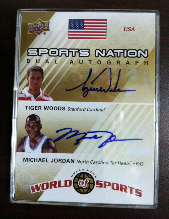 Tiger and MJ Dual-Signed WOS Card