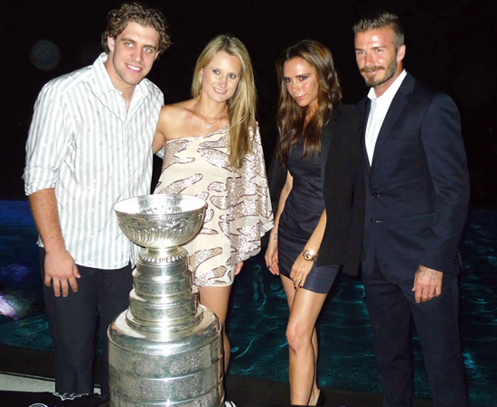 David & Victoria Beckham with Anze Kopitar and the Stanley Cup