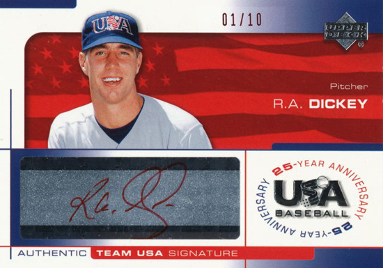 R.A. Dickey USA Baseball Red Signature Card