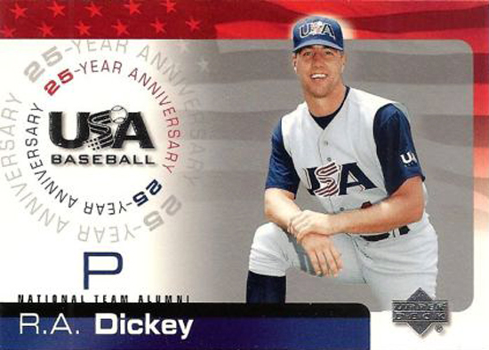 R.A. Dickey USA Baseball Rookie Card