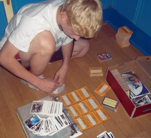 Shawn Pierson enjoying his trading card collection