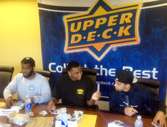 2013-Upper-Deck-Football-Autograph-Signing-Michael-Clay-Matt-Scott-Sheldon-Price