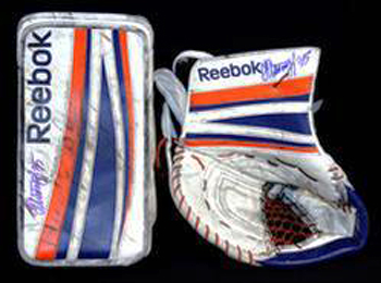 Girls-Go-Gaga-for-Goalies-Game-Used-Pads-Signed-Bryzgalov
