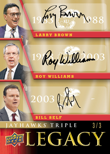 2013-Upper-Deck-University-of-Kansas-Jayhawks-Triple-Legacy-Autograph-Card-Self-Williams-Brown