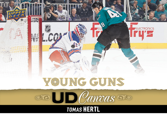 2013-14-NHL-Upper-Deck-Series-One-Double-Rookie-Class-Tomas-Hertl-Young-Guns-Canvas-4-Goal-Game-Rangers