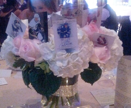 Cloutsnchara-Wedding-Upper-Deck-SP-Authentic-Hockey-Flower-Centerpiece