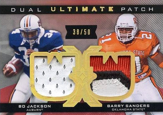 Live-2013-Upper-Deck-Ultimate-Collection-Footbal-Dual-Patch-Barry-Sanders-Bo-Jackson