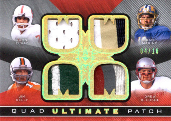 Live-2013-Upper-Deck-Ultimate-Collection-Footbal-Quad-Patch-Kelly-Bledsoe-Marino-Elway