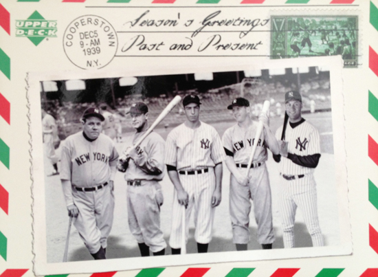 Santa-Card-2004-Upper-Deck-Yankee-Legends-Ruth-DiMaggio-Gehrig-Mantle-Jeter