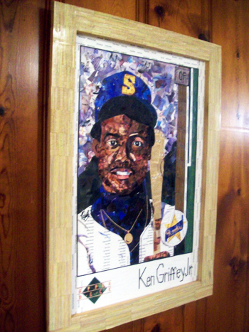2014-Upper-Deck-25th-Anniversary-Ken-Griffey-Jr-Rookie-Card-Art-Tim-Carroll-Cut-Framed