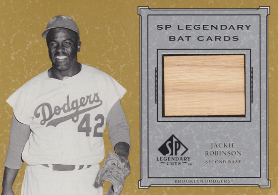 Upper-Deck-25th-Anniversary-Collector-Memories-2001-SP-Legendary-Cuts-Jackie-Robinson-Bat-Card
