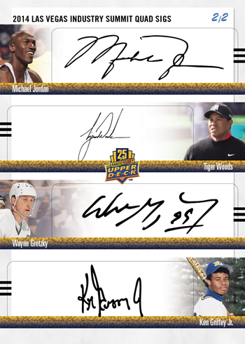 2014-Upper-Deck-Las-Vegas-Industry-Summit-25th-Anniversary-Quad-Autograph-Tiger-Jordan-Gretzky-Griffey