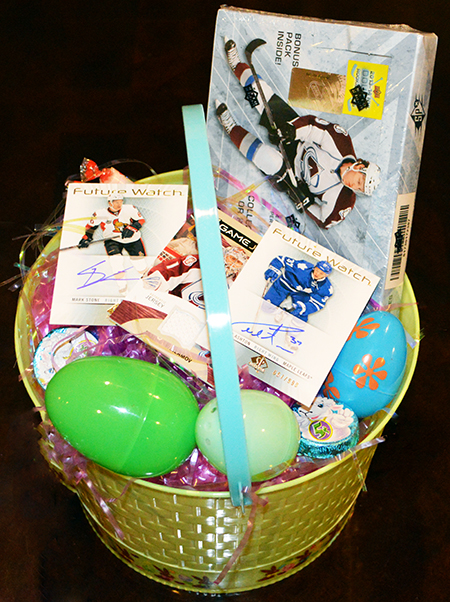 Easter basket ideas for sports fans upper deck blog easter basket for nhl hockey fan idea negle