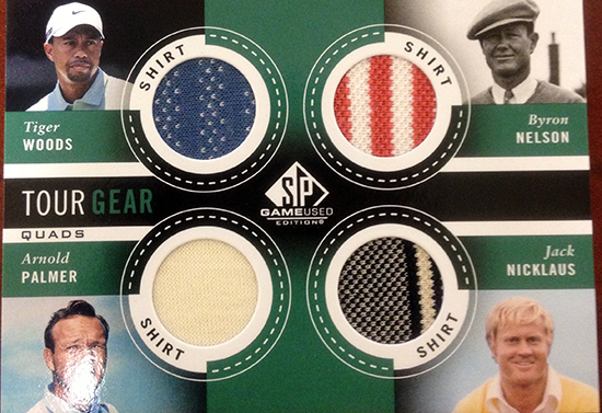 2014-SP-Game-Used-Golf-Quad-Swatch-Fabrics-Nelson-Woods-Palmer-Nicklaus