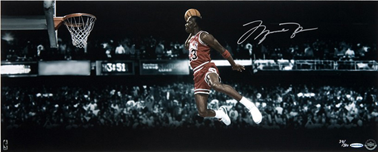 Group-Gift-Idea-Dad-Father-Upper-Deck-Authenticated-Autographed-Slam-Dunk-Contest-Panoramic-Photo-Michael-Jordan-Side