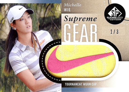 Michelle-Wie-2014-SP-Game-Used-Golf-Supreme-Gear-Cap-Memorabilia-Rookie-Card