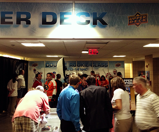 2014-NHL-Draft-Upper-Deck-Booth-Busy-Fans-Packed-Philadelphia