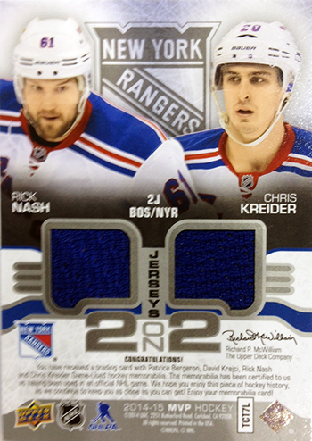 LIVE-2014-15-NHL-Upper-Deck-MVP-2-on-2-Jersey-Cards-Nash-Krieder-Back