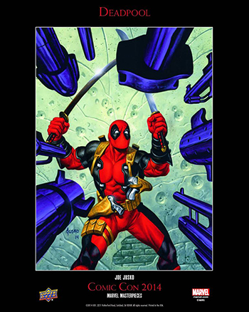 Deadpool card being signed by Joe Jusko