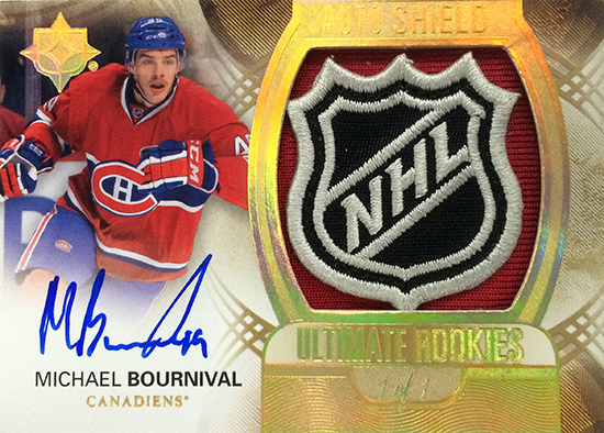 2013-14-NHL-Upper-Deck-Ultimate-Collection-Autograph-Rookies-Shield-Michael-Bournival