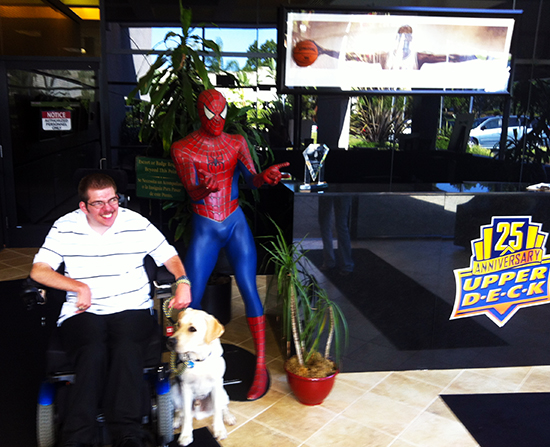 2014-15-NHL-MVP-Canine-Companions-Visit-Upper-Deck-Headquarters-Veren-Bistline-Spiderman-1