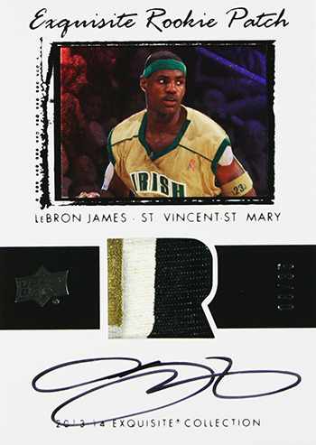 2013-14-Exquisite-Collection-Basketball-LeBron-James-Game-Used-Jersey-Rookie-Patch-Card