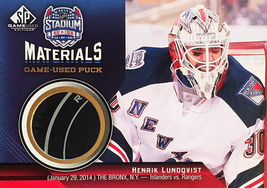 2014-NHL-Stadium-Series-Rangers-Islanders-Henrik-Lundqvist-Puck-SP-Game-Used