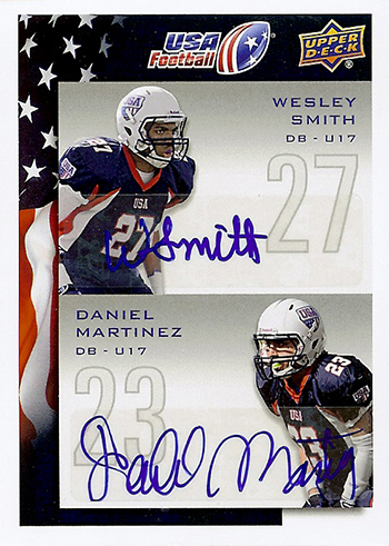 2014-Upper-Deck-USA-Football-Dual-Autograph-Beau-Wesley-Smith-Daniel-Martinez