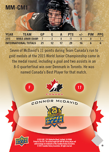 2015-Upper-Deck-Spring-Expo-Memorable-Moments-Card-Connor-McDavid-Team-Canada-2
