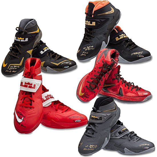 lebron james game-worn sneakers nike shoes autograph inscribed nba finals 2014