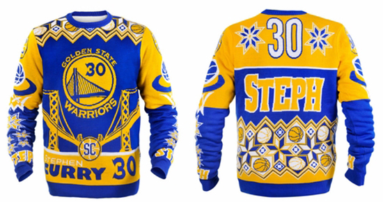 Golden-State-Warriors-NBA-Champions-Collectibles-Steph-Curry-Holiday-Sweater