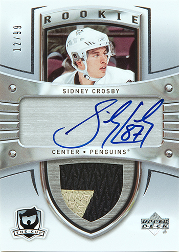 2005-06 nhl the cup upper deck autograph rookie patch card sidney crosby