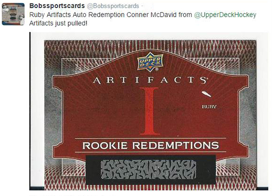 2015-16 upper deck artifacts rookie redemption connor mcdavid