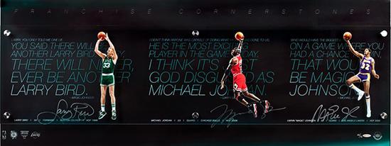 Michael Jordan, Magic Johnson and Larry Bird Autographed Franchise Cornerstone Display